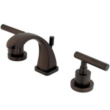 "Kingston Brass Two Handle 4"" to 8"" Mini Widespread Lavatory Faucet with Brass Pop-Up Drain - Oil Rubbed Bronze KS4945CML"