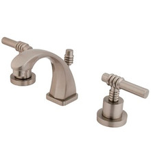 "Kingston Brass Two Handle 4"" to 8"" Mini Widespread Lavatory Faucet with Brass Pop-Up Drain - Satin Nickel KS4948ML"