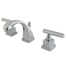 "Kingston Brass Two Handle 4"" to 8"" Mini Widespread Lavatory Faucet with Brass Pop-Up Drain - Polished Chrome"