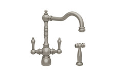 Whitehaus WHEG-34654-BN Englishhaus Two Handle Kitchen Faucet with Brass Side Spray - Brushed Nickel