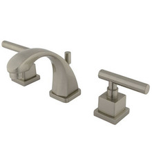 "Kingston Brass Two Handle 4"" to 8"" Mini Widespread Lavatory Faucet with Brass Pop-Up Drain - Satin Nickel"