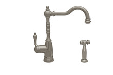 Whitehaus WHEG-34681-BN Englishhaus Single Lever Handle Kitchen Faucet and Brass Side Spray - Brushed Nickel