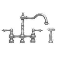 Whitehaus WHEGB-34656-C Englishhaus Bridge Kitchen Faucet with Lever Handles & Brass Side Spray - Polished Chrome