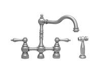 Whitehaus WHEGB-34656-PN Englishhaus Bridge Kitchen Faucet with Lever Handles & Brass Side Spray - Polished Nickel