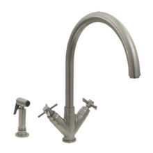 Whitehaus 3-03942SS85-BN Luxe+ Two Handle Single Hole Kitchen Faucet with Gooseneck Spout, Cross Handles and Brass Side Spray - Brushed Nickel