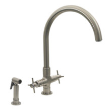 Whitehaus 3-03954SS85-BN Luxe+ Two Handle Single Hole Kitchen Faucet with Gooseneck Spout, Cross Handles and Brass Side Spray - Brushed Nickel