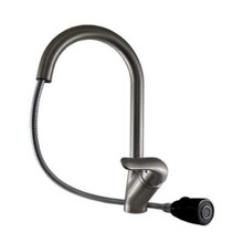 Whitehaus 3-2169-S-B Rainforest Single Handle Kitchen Faucet with Black Pullout Spray Head - Brushed Nickel/Black Head