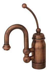 Whitehaus 3-3178-ACO Baby Horizon Single Handle Bar / Prep Faucet with Curved Extended Stick Handle and Curved Spout - Antique Copper