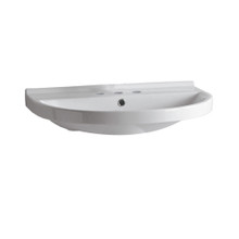 Whitehaus LU014-3H Isabella U-Shaped Wall Mount Sink with Widespread Hole Faucet Drilling, Overflow and Rear Center Drain - White
