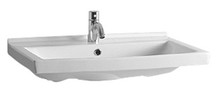 Whitehaus LU024-1H Isabella Rectangular Wall Mount Bath Sink with Single Hole Faucet Drilling, Overflow and Rear Center Drain - White