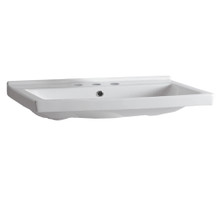 Whitehaus LU024-3H Isabella Rectangular Wall Mount Bath Sink with Widespread Hole Faucet Drilling, Overflow and Rear Center Drain - White
