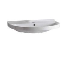 Whitehaus LU044-1H Isabella Large U-Shaped Wall Mount Bathroom Sink with Single Hole Faucet Drilling, Overflow, Rear Center Drain - White