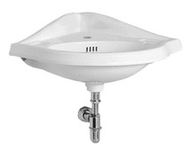 Whitehaus AR884-1H Isabella Corner Wall Mount Sink with Single Hole Faucet Drilling, Oval bowl, Backsplash, Dual Soap Ledges and Overflow - White
