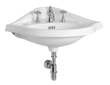 Whitehaus AR884-3H Isabella Corner Wall Mount Sink with Widespread Hole Faucet Drilling, Oval bowl, Backsplash, Dual Soap Ledges and Overflow - White