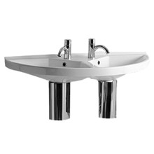 Whitehaus LU020 Isabella Large U-Shaped Wall Mount Double Sink with Chrome Overflows - White