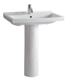 Whitehaus LU024-LU005-1H Isabella Tubular Pedestal Sink with Rectagular Sink, Chrome Overflow and Single Hole Faucet Drilling - White
