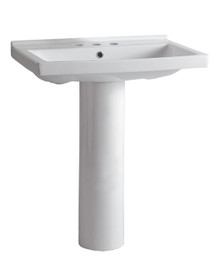 Whitehaus LU024-LU005-3H Isabella Tubular Pedestal Sink with Rectagular Sink, Chrome Overflow and Widespread Faucet Drilling - White