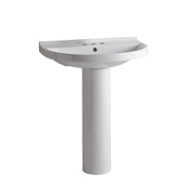 Whitehaus LU014-LU005-3H Isabella U-Shaped, Tubular Pedestal Sink with Widespread Faucet Driliing - White