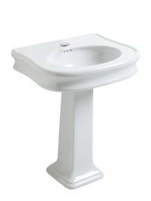 Whitehaus LA10-LA03-1H Isabella Traditional Pedestal Sink with Integrated Oval Bowl, Seamless Rounded Decorative Trim - White