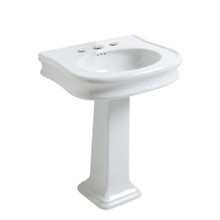 Whitehaus LA10-LA03-3H Isabella Traditional Pedestal Sink with Integrated Oval Bowl, Seamless Rounded Decorative Trim - White