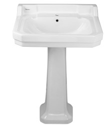 Whitehaus B112L-P Isabella Traditional Pedestal with Integrated Large Rectangular Bowl, Backsplash, Dual Soap Ledges, Decorative Trim and Overflow - White