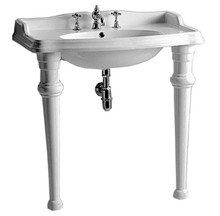 Whitehaus AR864-GB001-3H Isabella Rectangular Console with Integrated Oval Bowl, Widespread Faucet Drill, Backsplash, Ceramic Leg Support and Chrome Overflow - White