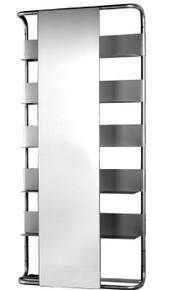 Whitehaus AEA180 Aeri Large Aluminum Rectangular Wall Mount Frame with Six Shelves and Rectangular Sliding Mirror