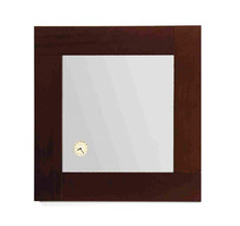 Whitehaus AMET01 Antonio Miro Square Mirror with Iroko Wood Frame and Built-in Clock - Ebony Wood