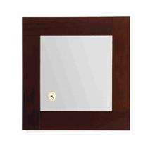 Whitehaus AMET01 Antonio Miro Square Mirror with Iroko Wood Frame and Built-in Clock - Ebony Wood