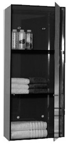 Whitehaus WHAEVE02 Aeri Vertical Glass Wall Mount Storage Unit with Three Shelves and Mirror Door - Transparent Glass