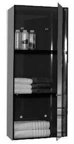 Whitehaus WHAEVF02 Aeri Vertical Glass Wall Mount Storage Unit with Three Shelves and Mirror Door - Smoked Gray Glass