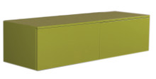 Whitehaus WHAEVVE06 Aeri Green Lacquered Wood Wall Mount Unit with Double Drawers and Counter Top - Green Shiny Lacquered