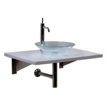Whitehaus WHCRFS-1T New Generation Basket Woven Transparent Glass Fused Sink Top with Colored Glass Details and Top Mount Sink - Transparent Glass