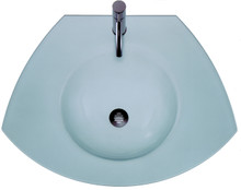 Whitehaus WHECOLOOM-MATTE New Generation Ecoloom Trapezoidal Glass Counter Top with Integrated Round Sink - Matte