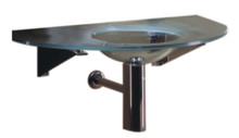 """Whitehaus WHLOOM-A New Generation Large Arched 1/2"""" Matte Glass Counter Top with Integrated Round Sink"""