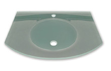 """Whitehaus WHLOOM-C New Generation Arched 1/2"""" Matte Glass Counter Top with Integrated Round Sink"""