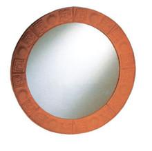 Whitehaus WHLTC500 New Generation Large Round Mirror with Embossed Terra Cotta Border