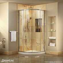 Dreamline DL-6701-01FR 33 in. D x 33 in. W x 74 3/4 in. H Frosted Framed Sliding Shower Enclosure in Chrome, Corner Drain White Base Kit