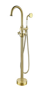 Vanity Art VA2029-BB Freestanding Tub Filler Faucet with Hand Shower - Brushed Brass