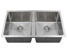 "Polaris PD0213 Double Bowl Undermount 3/4"" Radius Sink 31 in.- Brushed Satin"