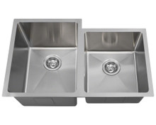 "Polaris PL0213 Undermount Double Bowl Offset 3/4"" Radius Sink 31 1/4 in. - Brushed Satin"