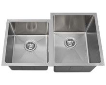 "Polaris PR0213 Undermount Double Bowl Offset 3/4"" Radius Stainless Steel Sink 31 1/4 in - Brushed Satin"