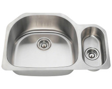 Polaris PL1223-16 Undermount Double Bowl Offset Stainless Kitchen Sink 31 3/4 in.  - Brushed Satin