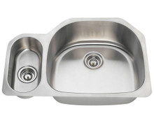 Polaris PR1223-16 Undermount Double Bowl Offset Stainless Kitchen Sink 31 3/4 in.  - Brushed Satin