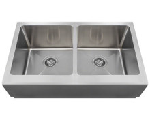 Polaris P604 32 3/4 in. Double Equal Bowl Apron Sink - Brushed Satin