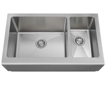 Polaris PL704 Offset Double Bowl 32 3/4 in. Apron Sink - Brushed Satin