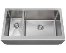 Polaris PR704 Offset Double Bowl 32 3/4 in. Apron Sink- Brushed Satin