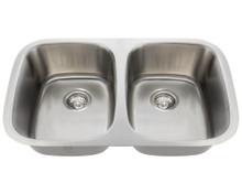 Polaris P015-16 Undermount Stainless 29 in. Double Bowl Kitchen Sink - Brushed Satin