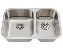 "Polaris PL035 Small Offset 28"" Undermount Stainless Sink - Brushed Satin"