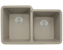 Polaris P108ST Double Offset Bowl Undermount AstraGranite Kitchen Sink 32 in. - Matte Slate